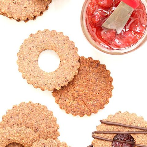 Chocolate Covered Strawberry Linzer Cookies