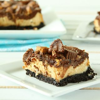 Chocolate Peanut Butter Cup Cheesecake Squares