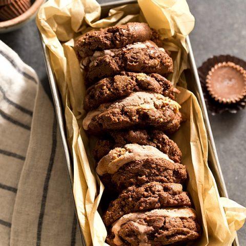 Chocolate Peanut Butter Ice Cream Cookie Sandwiches