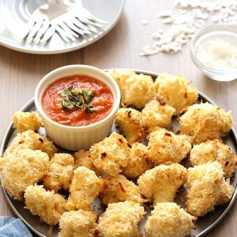 Coconut Crusted Baked Cauliflower Bites