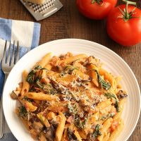 Creamy Tomato and Mushroom Pasta (Dinner For Two)