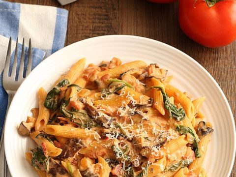 Creamy Tomato Mushroom Pasta Dinner For Two Homemade In The Kitchen