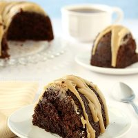 Double Chocolate Espresso Bundt Cake with Caramel Glaze