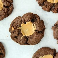 Double Chocolate Peanut Butter Thumbprint Cookies