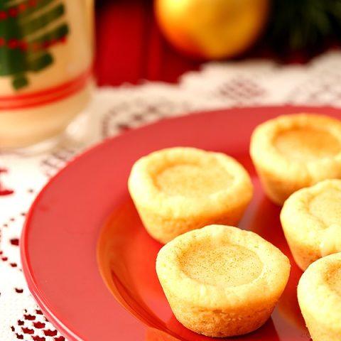 Eggnog Filled Sugar Cookie Cups