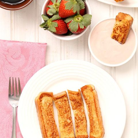 French Toast Sticks with Strawberry Yogurt Dipping Sauce