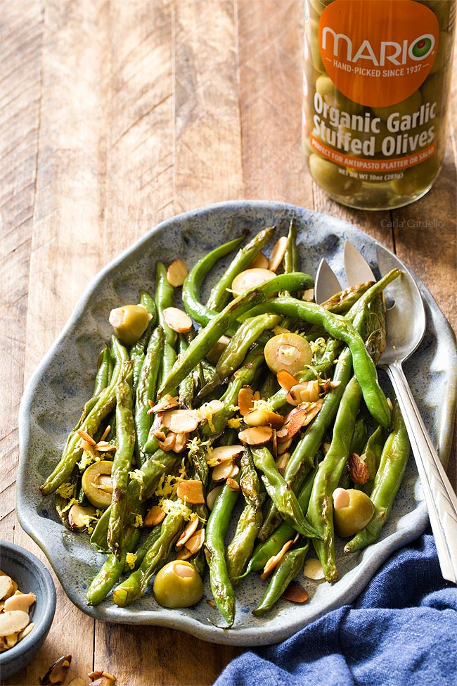 Green Beans with Almonds and Garlic Olives