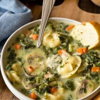 One Pot Spinach Mushroom Dumpling Soup