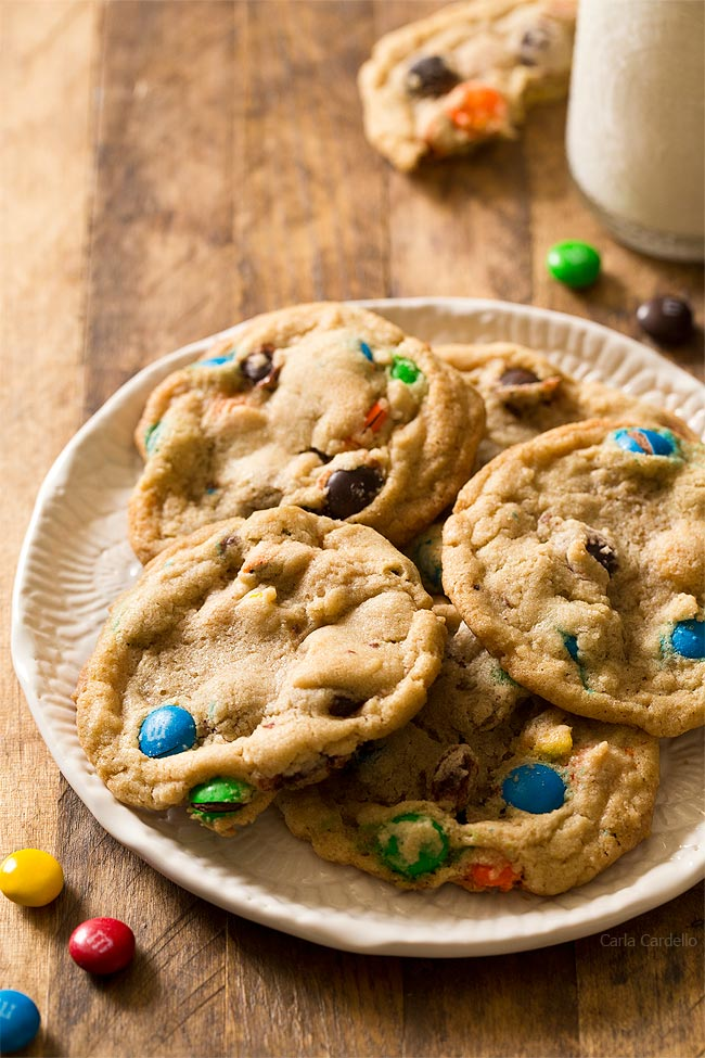 Soft and chewy Small Batch M&M Cookies