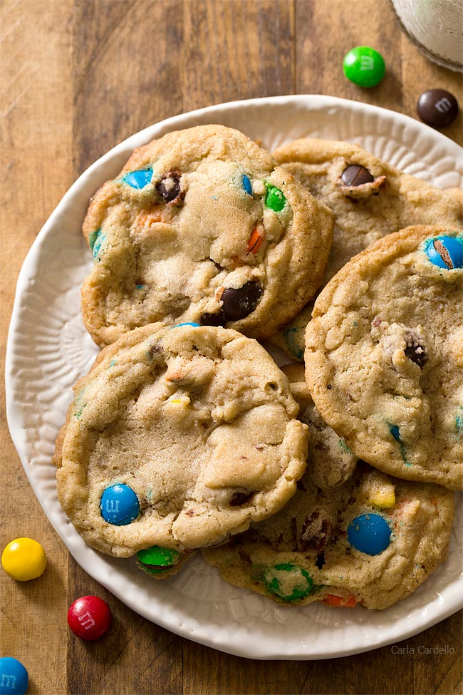Small Batch M&M Cookies makes 9 cookies and easily freezes well.