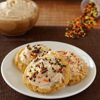 Soft Pumpkin Sugar Cookies with Cinnamon Frosting