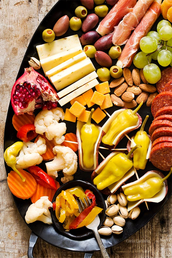 Cheeseboard with Salami Wrapped Pepperoncini