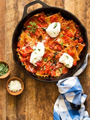 One Pan Vegetable Skillet Lasagna (Dinner For Two)