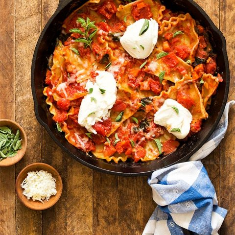 One Pan Vegetable Skillet Lasagna - Dinner For Two
