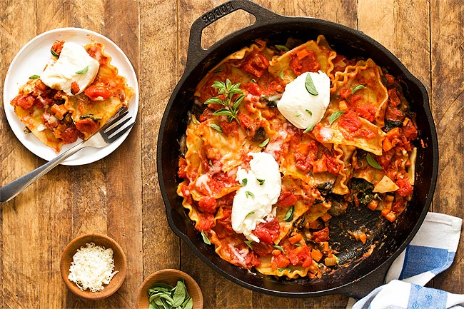 One Pan Vegetable Skillet Lasagna with carrots, spinach, and mushrooms
