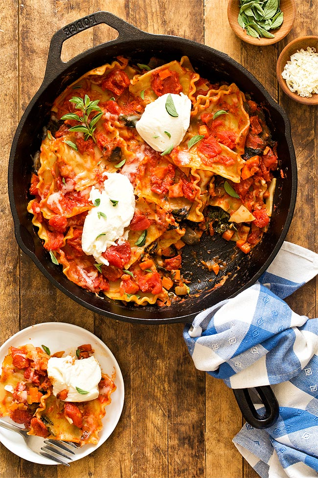 Serving One Pan Vegetable Skillet Lasagna for an easy weeknight dinner