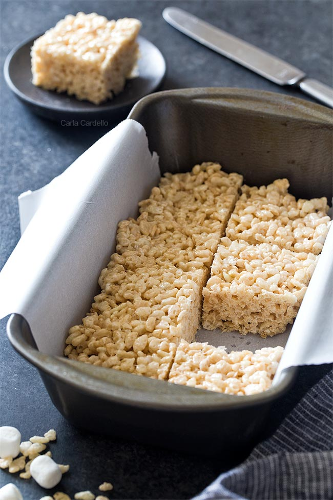 No bake Small Batch Rice Krispie Treats made in a loaf pan