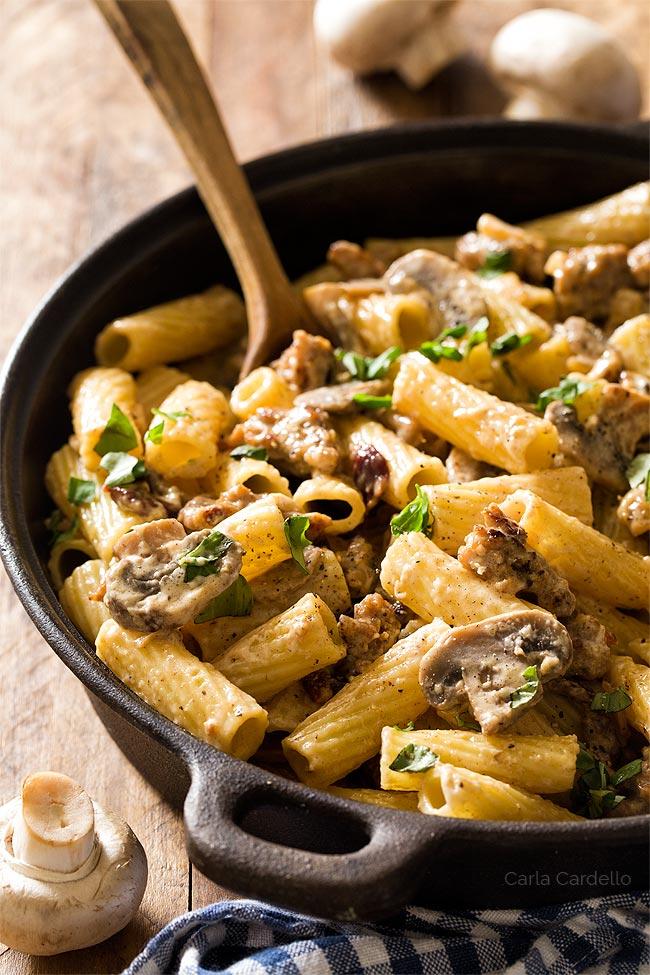 Creamy Sausage Mushroom Rigatoni