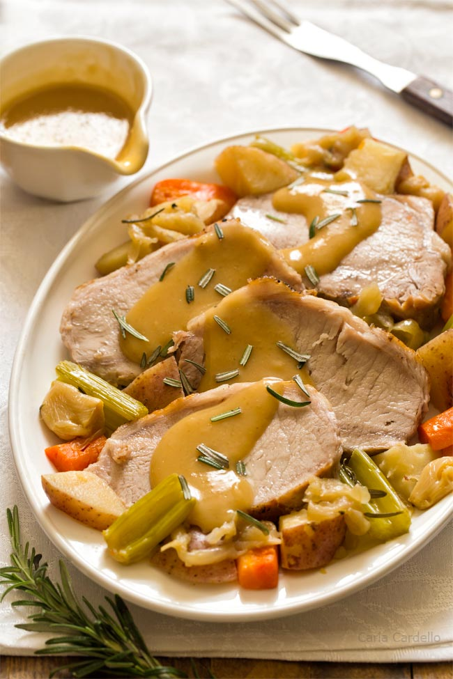 Instant Pot Pork Roast For Two with vegetables and gravy