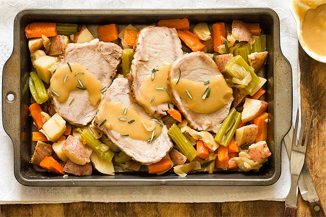 Pork Roast Dinner For Two with gravy and vegetables