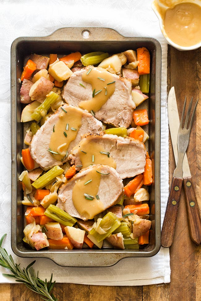 Pork Roast Dinner For Two with vegetables and gravy