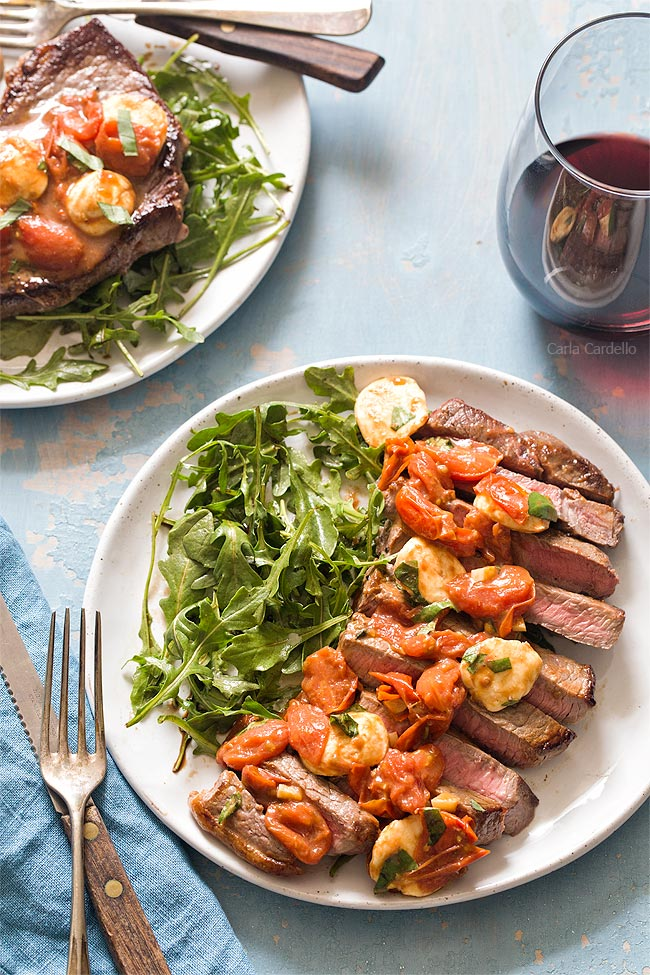 Pan fried Caprese Steak Dinner For Two
