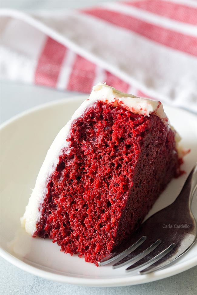Slice of Small 6 Inch Red Velvet Cake For Two