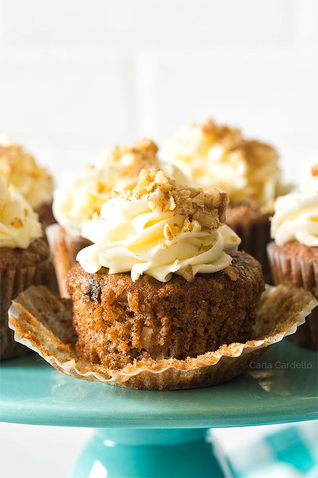 Small Batch Carrot Cake Cupcakes with Cream Cheese Frosting