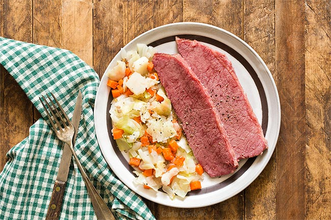 Corned Beef and Cabbage Dinner For Two with carrots and potatoes
