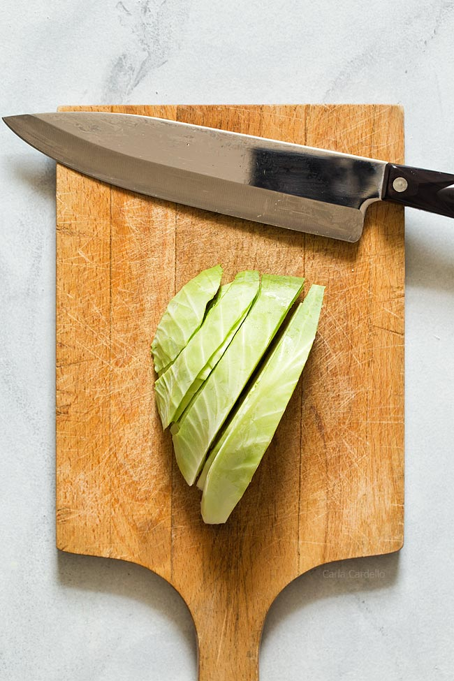 Cut cabbage into slices