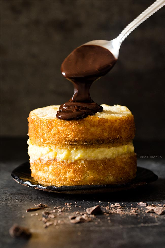 Chocolate Ganache for Mini Boston Cream Pie