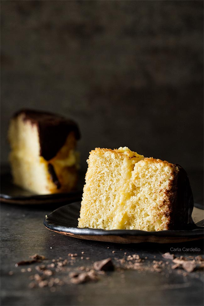 Slice of Mini Boston Cream Pie For Two
