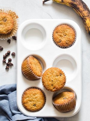 Small Batch Banana Muffins in white muffin pan