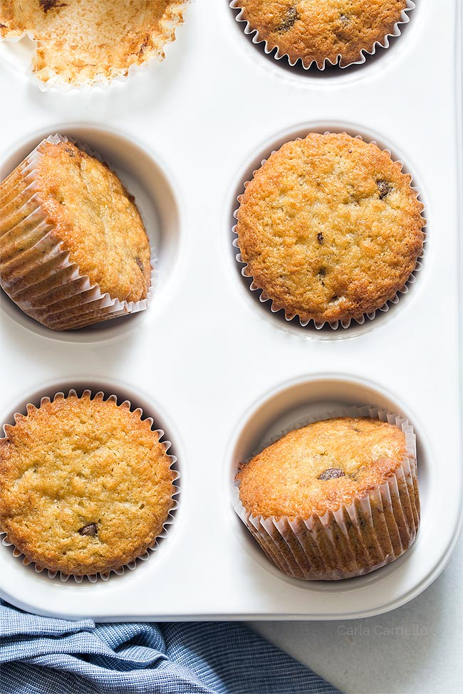 Small Batch Banana Muffins with chocolate chips