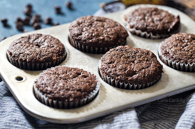 Small Batch Chocolate Banana Muffins using 1 banana