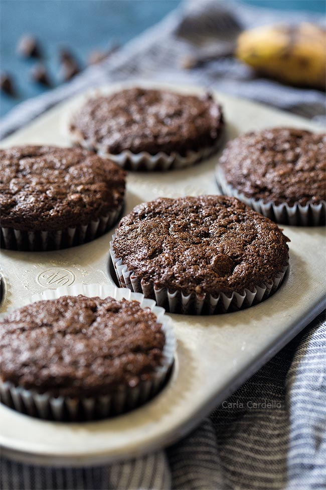 Small Batch Chocolate Banana Muffins