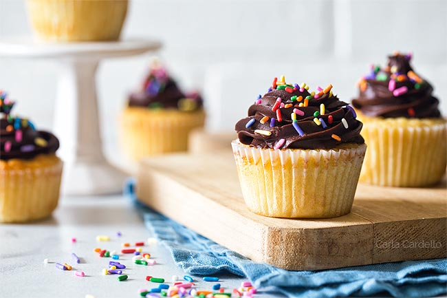Yellow Cupcakes With Sprinkles