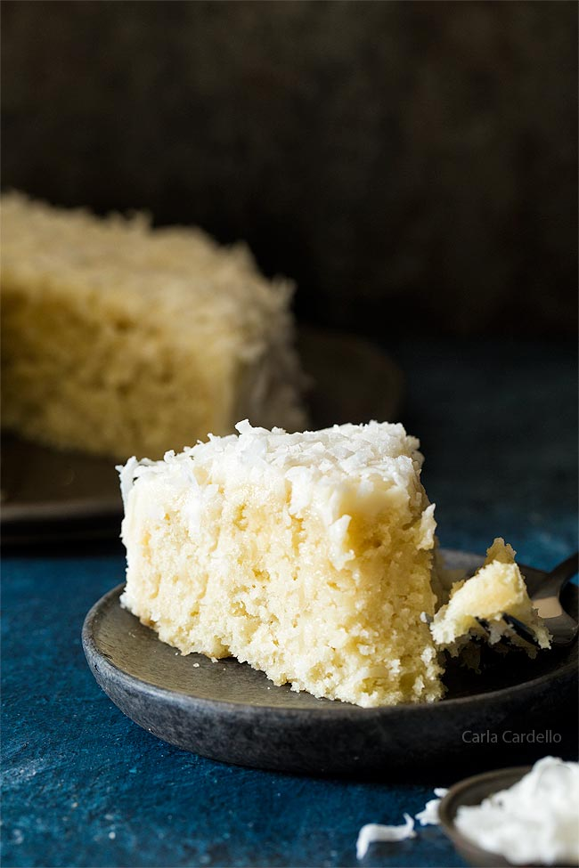 Slice of small coconut cake recipe