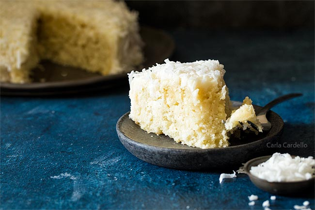 Slice of coconut cake for two