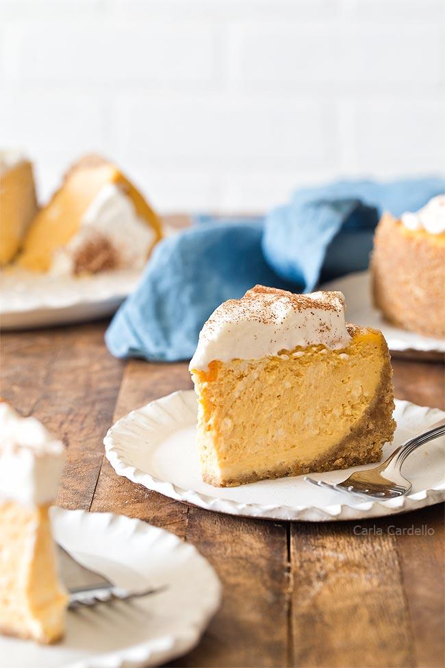 Slice of 6 Inch Pumpkin Cheesecake recipe