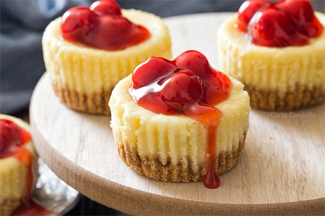 Close up of Mini Cheesecakes