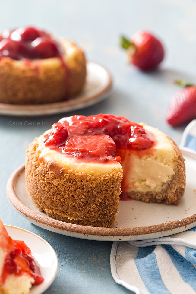 Cheesecake For Two with Strawberry Sauce