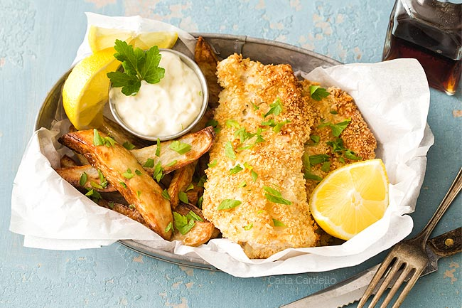 Baked Fish and Chips dinner for two
