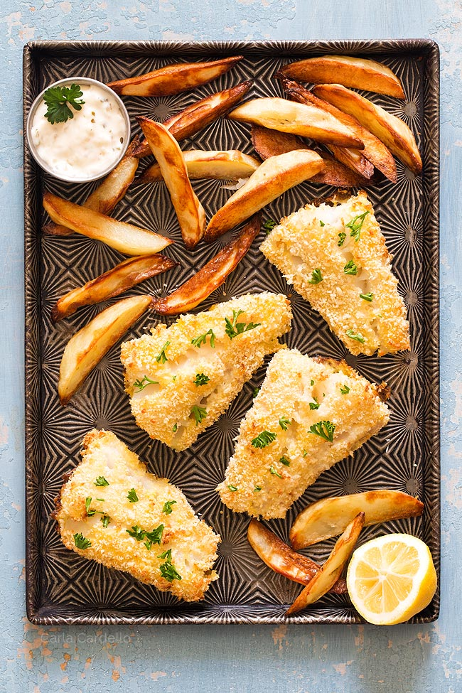 Baked Fish and Chips On Sheet Pan