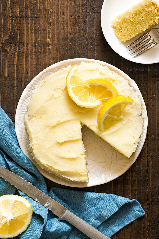 Small Lemon Cake with slice taken out