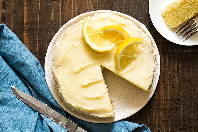 Lemon cake with blue linen and knife