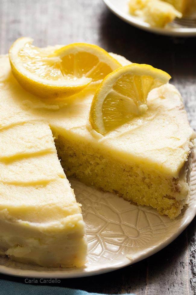 Close up of lemon cake with slice cut
