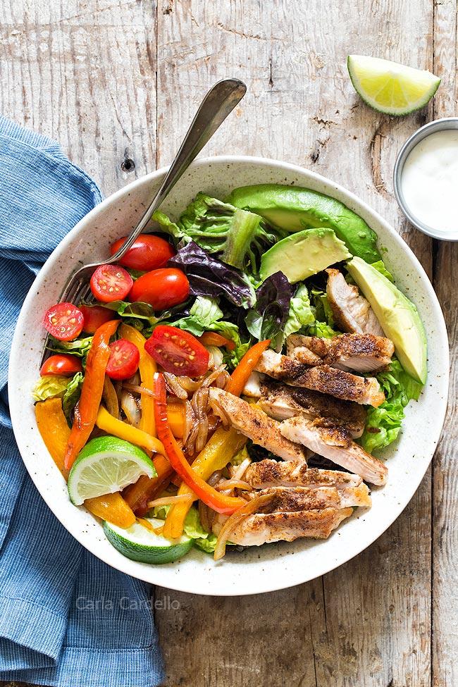 Chicken Fajita Salad without dressing