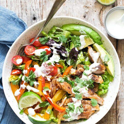 Chicken Fajita Salad in a bowl