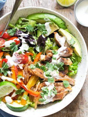 Close up of chicken fajita salad